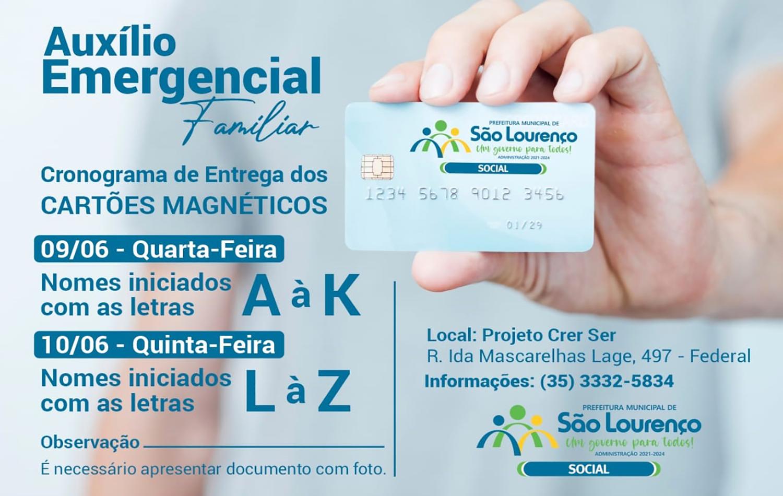Entrega dos cartões do Auxílio Emergencial Familiar iniciará na quarta-feira (09/06)
